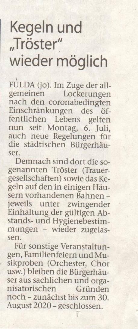 Zeitungsartikel Tröster